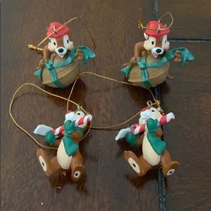 Set of 4 Chip and Dale Ornaments